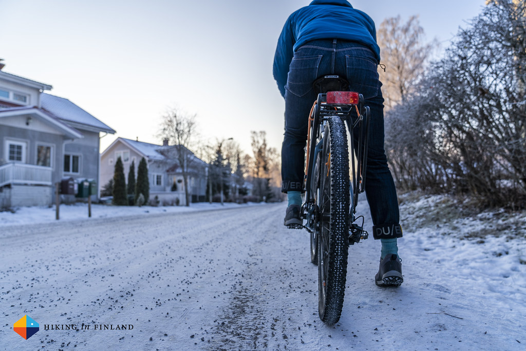 Cycling with the DUER All-Weather Denim Jeans