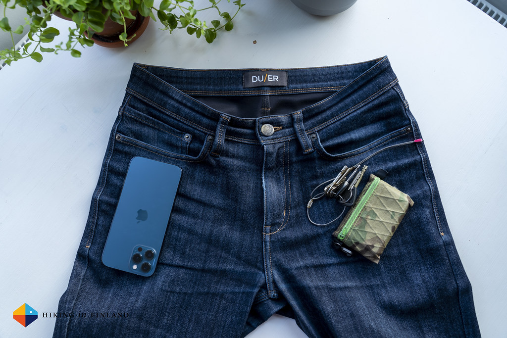 DUER All-Weather Denim Jeans Pockets n Stuff