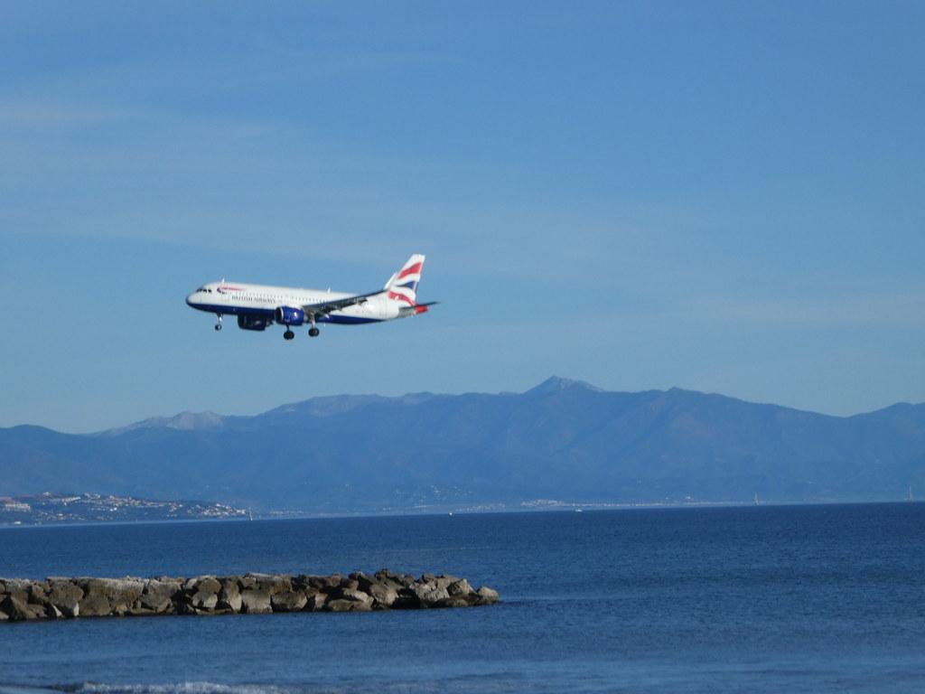 Aircraft landing, Eastern Beach, Gibraltar