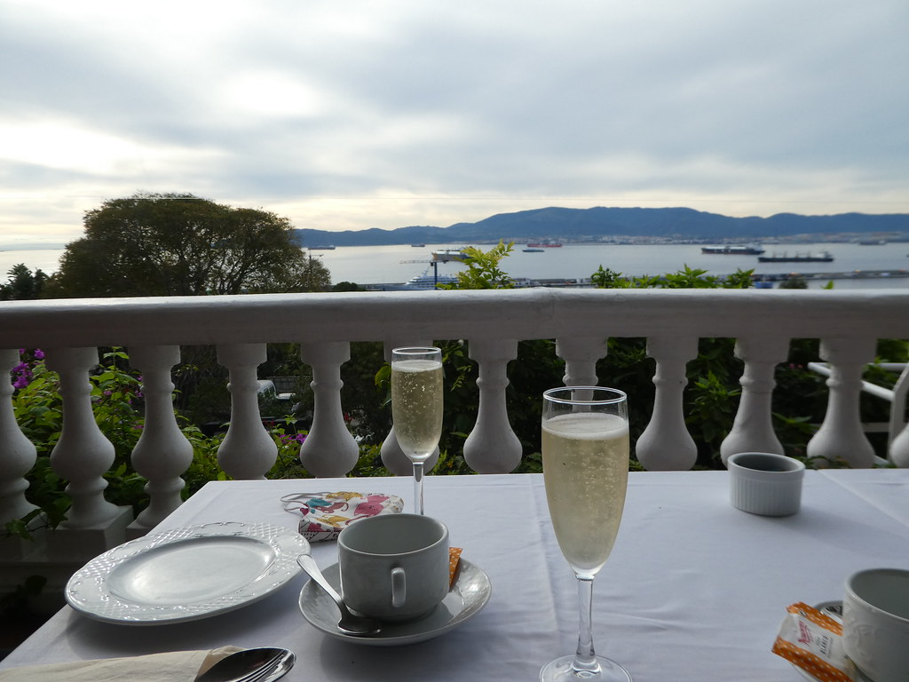 Champagne on the Wisteria Terrace of the Rock Hotel Gibraltar