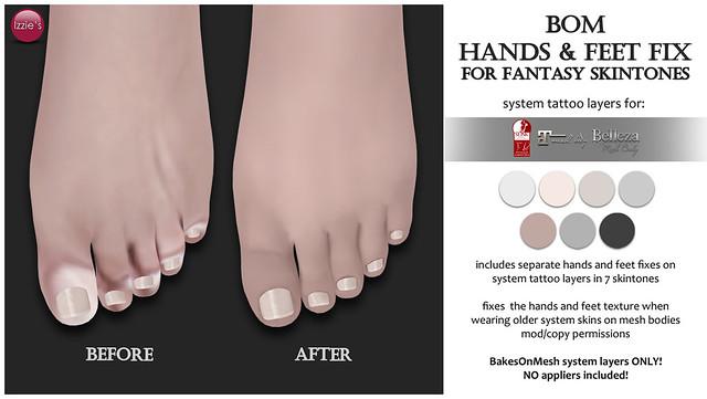 Free Bom Hands & Feet Fix (for Fantasy Skintones)