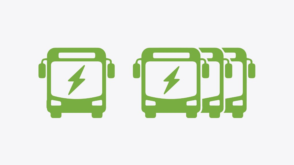 A graphic of green electric buses on a white background