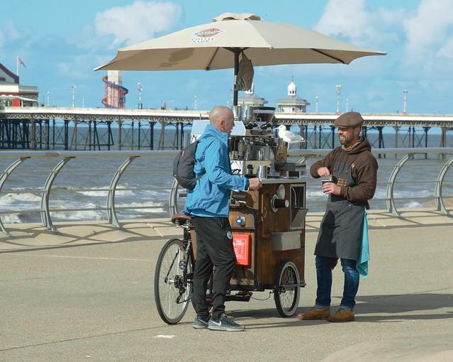 Coffee bike on the prom at Blackpool