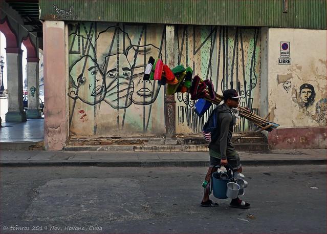 Brush, Broom and Buckets Seller. Virtudes, Havana
