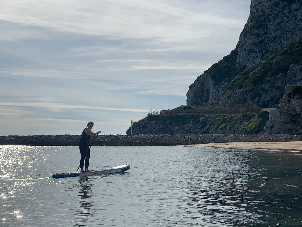 Paddle boarding at Sandy Bay Gibraltar