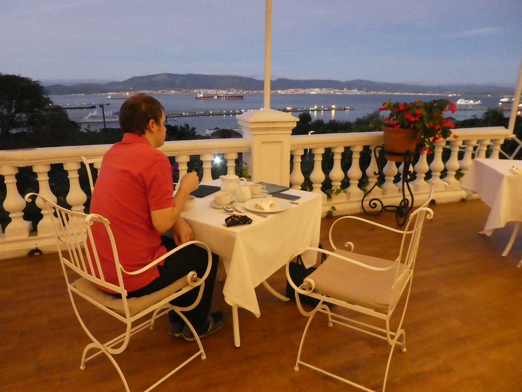 Breakfast on the terrace of the Rock Hotel, Gibraltar