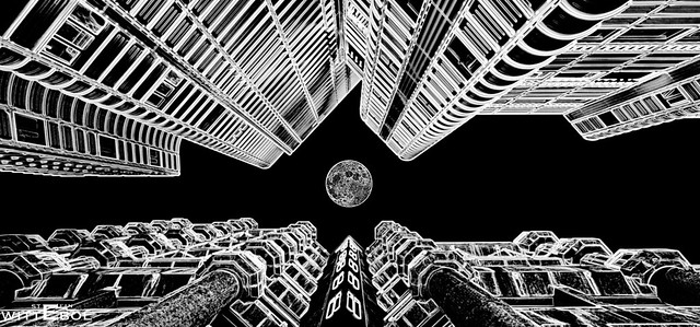 Full moon over the city abstract (on explore 07-01-2021)