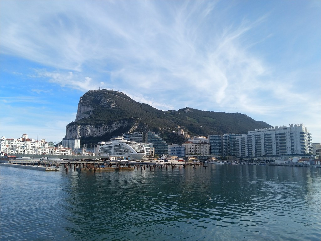 The Rock of Gibraltar viewed from out in the bay