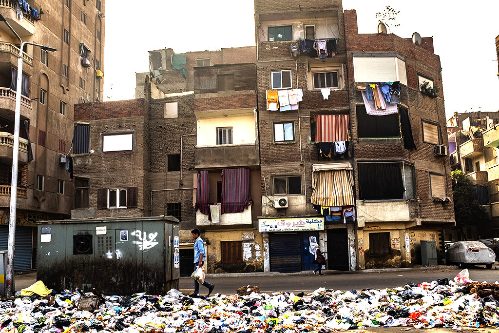 Trash in the middle of the road on 1-7-21--Giza