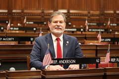 Rep. Anderson at his desk on the first day of the 2021 legislative session.