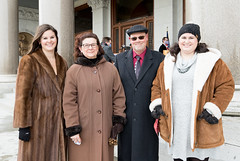 State Representative Cindy Harrison (R-69) was joined by her daughters Emily (left) and Rebecca, and her husband Robert, after  being sworn into office during an outside ceremony due to the continued COVID-19 pandemic.