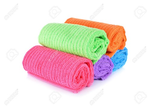 pile of small towel on white background