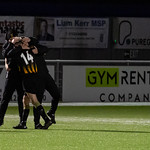 untly 3 Cumbernauld Colts 1: Gavin Elphinstone (14) runs to the bench to celebrate his goal