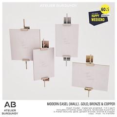 Atelier Burgundy . Modern Easel Wall Gold
