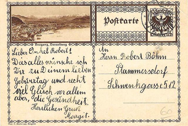 15.11.1928 ... Glückwünsche zum Geburtstag an Onkel Robert ... Scan: Brigitte Stolle