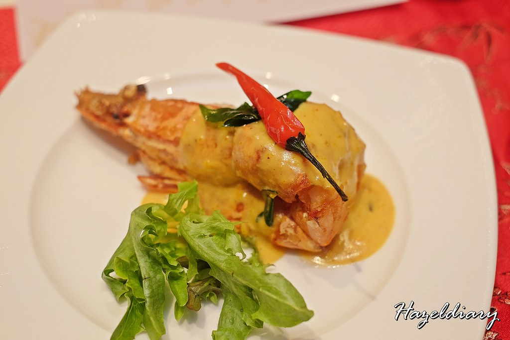 Wan Hao Chinese Restaurant Marriott-Braised Giant Prawn with Salted Egg Cream Sauce