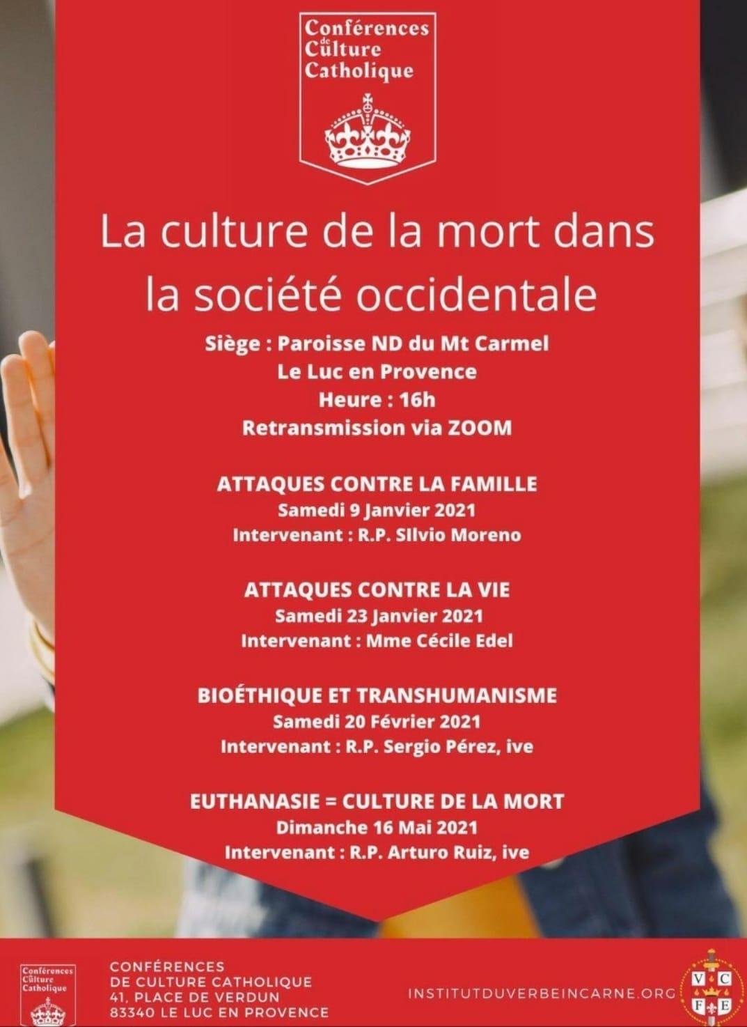 Túnez/Francia: Conferencias de Cultura Católica en francés