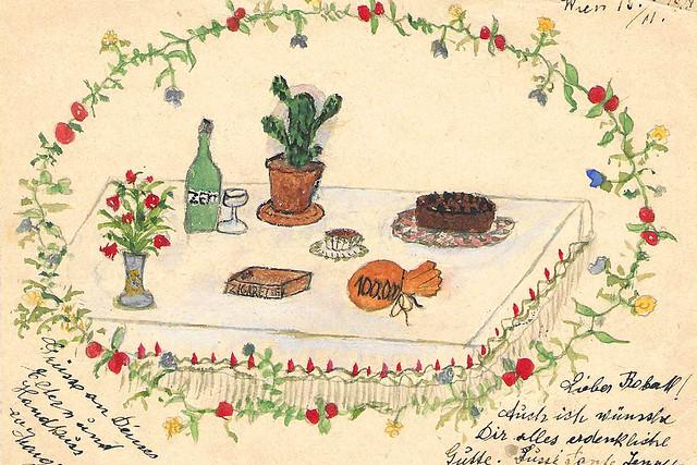 15.11.1928 ... Gemalte Glückwünsche zum Geburtstag an Onkel Robert ... Scan: Brigitte Stolle
