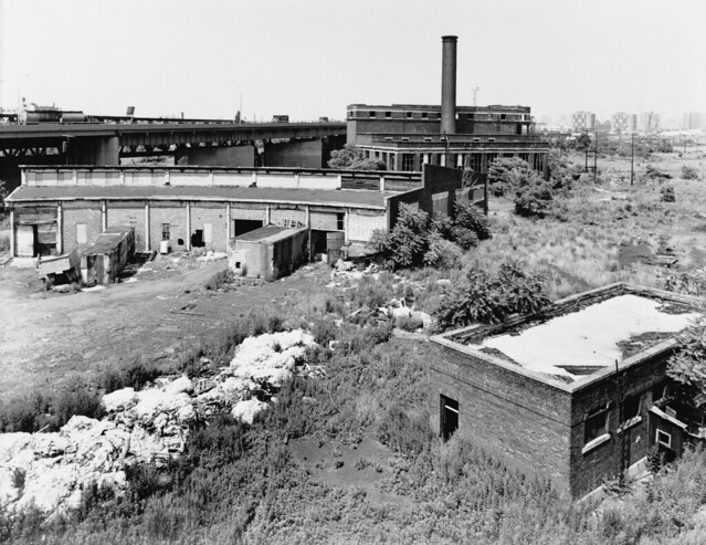 Yet more fun in the old days. I wonder what drivers on the Turnpike thought of this utter wasteland so close to NYC? Ruins of the Central Railroad of NJ north roundhouse, a power plant and an office building. Ghetto palm tree heaven. Jersey City. 1975.