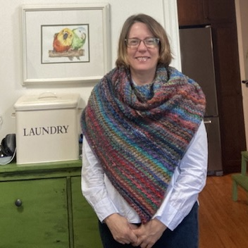 Karen finished her Nightshift Shawl by Andrea Mowry using Noro Ito kit from the shop!