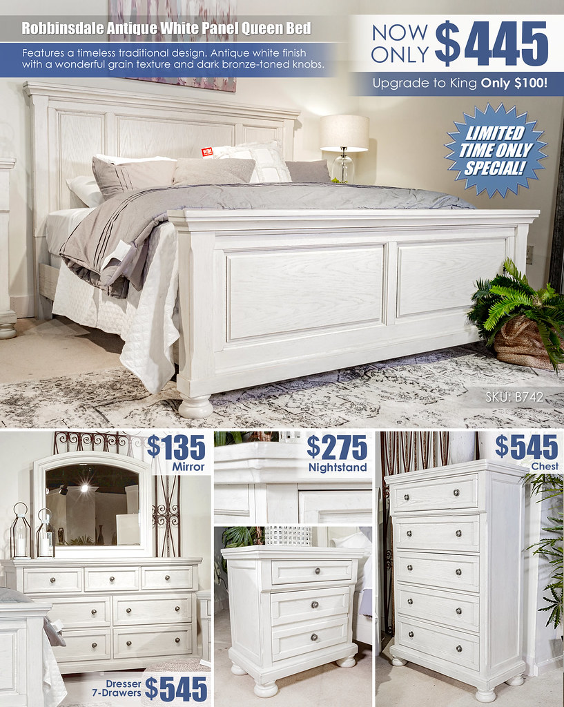 Robbinsdale Antique White Panel Queen Bed Special_Layout_B742_Update