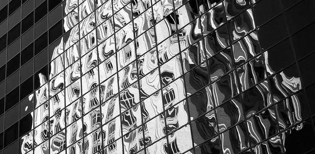 Reflection of Art Deco Gulf Oil Building, Houston (infrared)