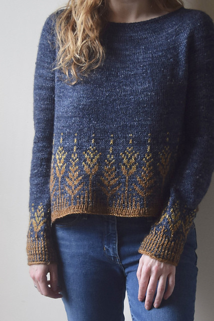 Goldenfern by Jennifer Steingass is a simple, seamless circular yoke sweater with colourwork details on the body and sleeve cuffs.