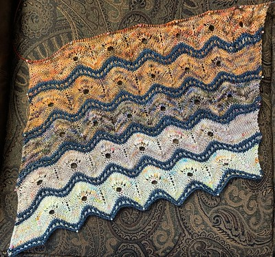 This was my progress on my ADVENTuresome Wrap by Ambah O'Brien using the Koigu Advent 2020 Kit in Mica.