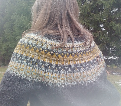 Here is the back of Sharon (Sharbooski)'s Lunenburg Pullover by Amy Christoffers knit using Lichen and Lace Rustic Heather Sport.