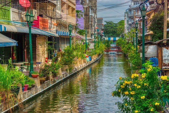 Canal or Khlong on Rattanakosin island (Old Town) in Bangkok, Thailand