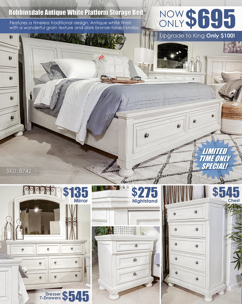 Robbinsdale Antique White Storage Queen Sleigh Bed Special_Layout_B742_Update
