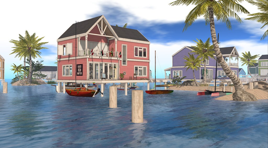 Stilt house with boats