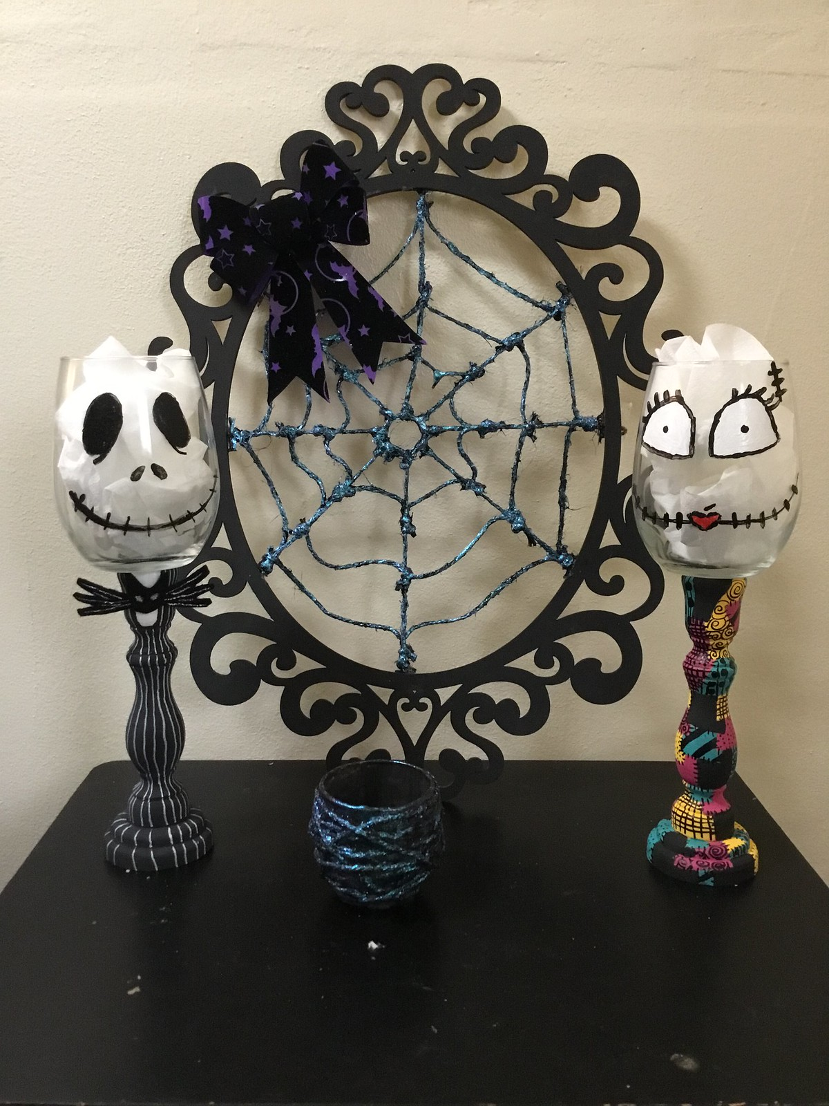DIY Nightmare Before Christmas Jack and Sally Candle Holders