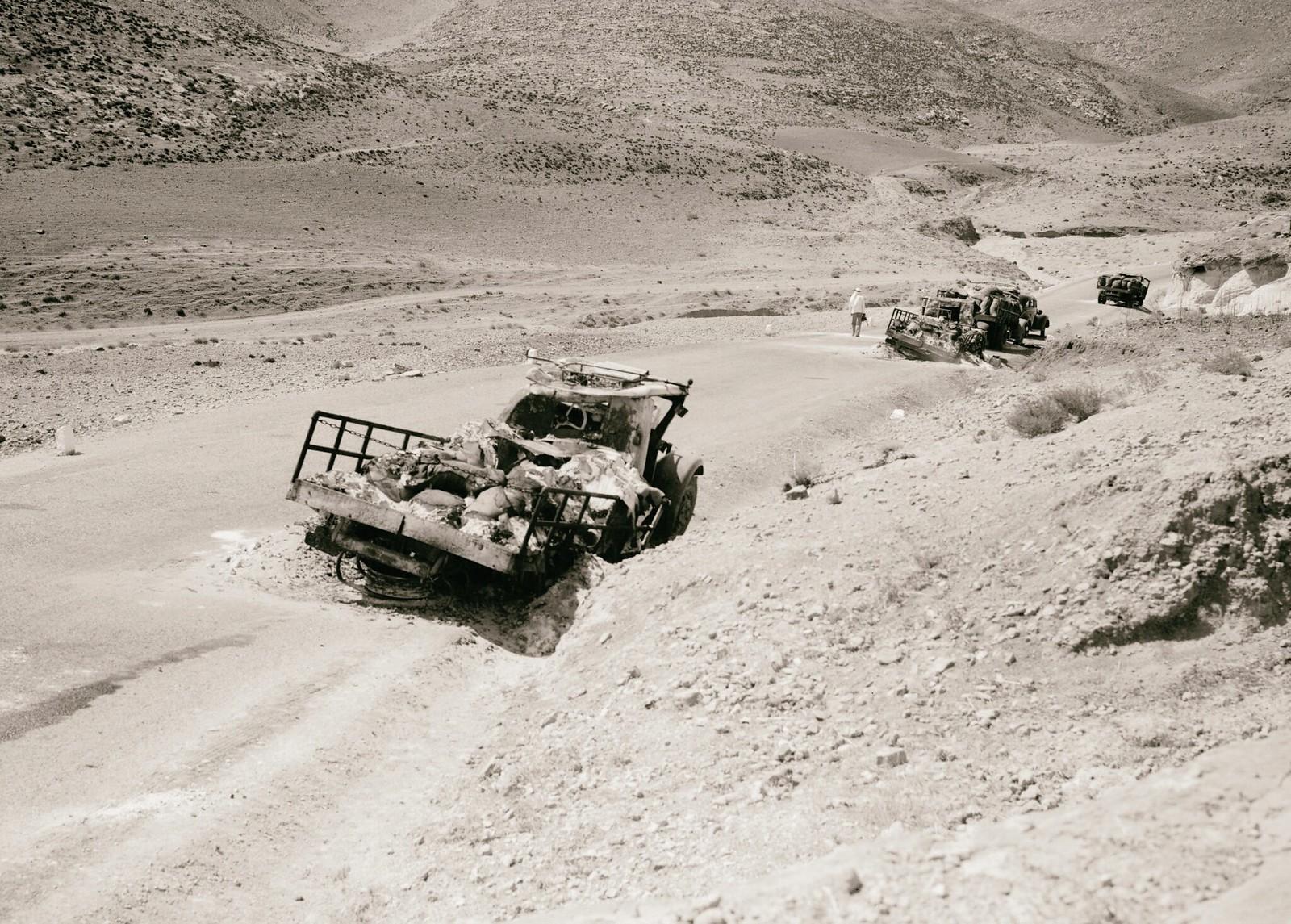 17. 1938. Два из пяти грузовиков с калием, уничтоженных арабскими мятежниками на дороге в Иерихон