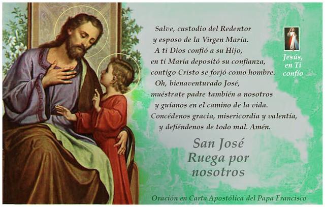 foto oracion del papa Fransisco a san Jose