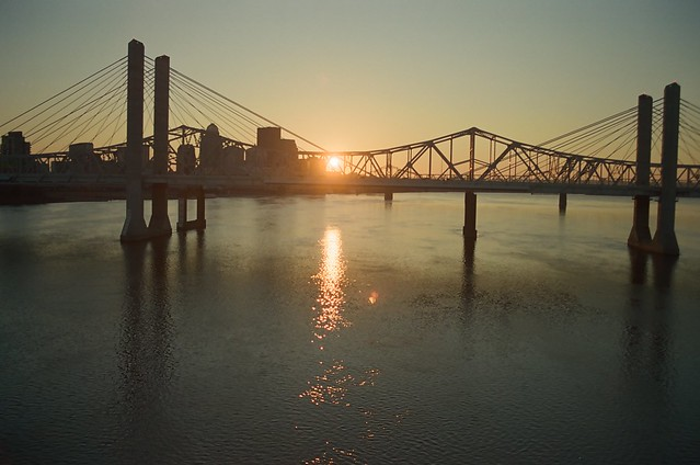 December sunset on the Ohio River.