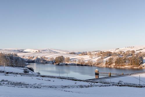 haworth brontecountry yorkshire reservoir winter snow sunrise landscape calm peaceful
