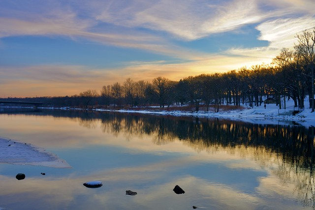 A beautiful sunset over Fox River and Fabyan Forest Preserve