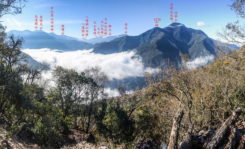 關門古道稜線(H1392 m)南望群山 1-1