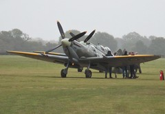 Aero Legends Mk IX Spitfires NH341 and TD314 after finishing their displays at Headcorn Aerodrome on 27.09.20