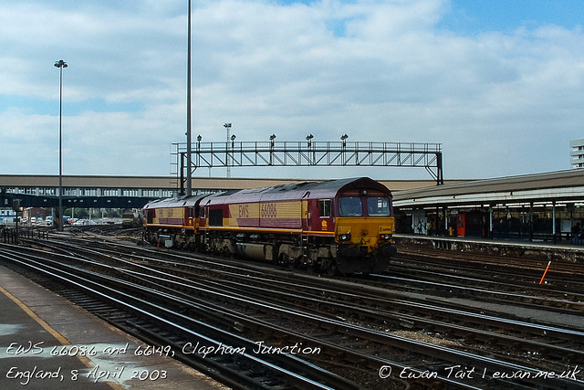 EWS 66086 and 66149, Clapham Junction