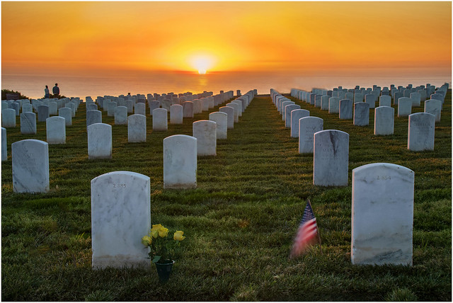 Sunset - Fort Rosecrans National Cemetery    Unique Pattern of Naval Cemetery Tombstones