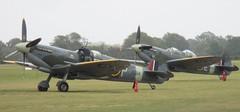 Aero Legends Mk IX Spitfires NH341 and TD314 at the Battle of Britain Airshow, Headcorn Aerodrome on 27.09.20