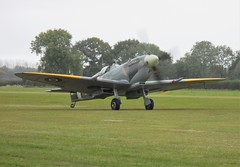 Mk IX Spitfire TD314 St George lands during the Battle of Britain Airshow, Headcorn Aerodrome on 27.09.20
