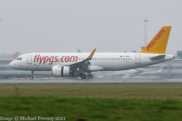 TC-NCK - 2020 build Airbus A320-251N, arriving on Runway 23R at dismal, grey Manchester