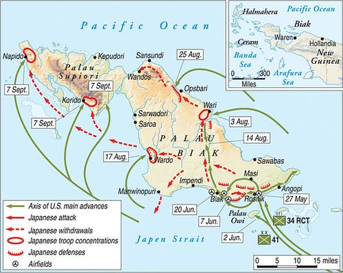 De verovering van het eiland Biak kost de geallieerden van eind mei tot medio augustus. De Japanners hebben het eiland versterkt middels een labyrint van grotten.