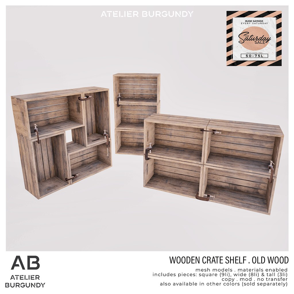 Atelier Burgundy . Wooden Crate Old Wood