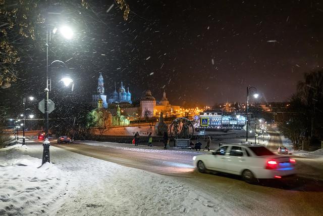 Троице-Сергиева лавра. Зимняя ночь. Вид с Блинной горы