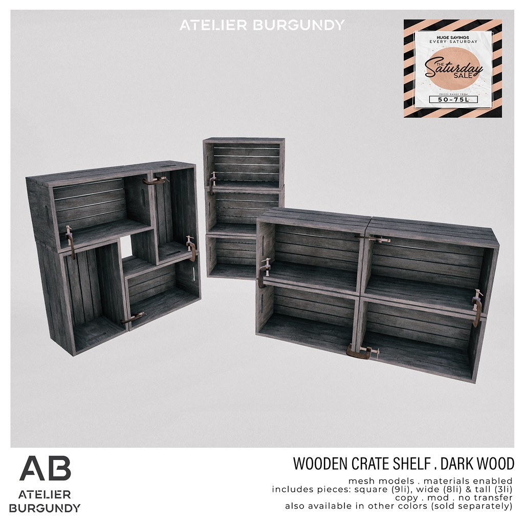Atelier Burgundy . Wooden Crate Dark Wood