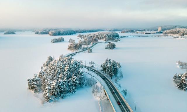 Saaristokatu talvella ilmakuva